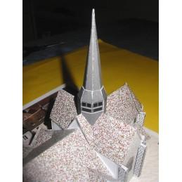Vue toits Egreville (77) - Eglise Saint-Martin - Montage clochers