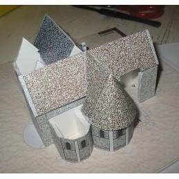 Montage toits maquette Chateau-Landon (77) - Eglise Notre Dame